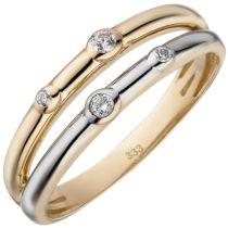 Damen Ring 2-reihig 333 Gelbgold bicolor 4 Zirkonia Goldring