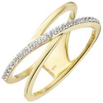 Damen Ring 2-reihig 375 Gelbgold 24 Zirkonia Goldring