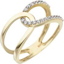 Damen Ring 2-reihig 375 Gold Gelbgold 22 Zirkonia Goldring