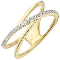 Damen Ring 2-reihig 375 Gold Gelbgold 24 Zirkonia Goldring