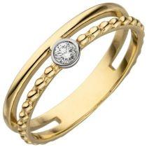 Damen Ring 2-reihig 585 Gelbgold 1 Diamant Brillant 0,07ct. Diamantring