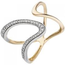 Damen Ring 2-reihig 585 Gelbgold 36 Diamanten Brillanten Diamantring