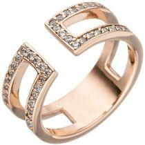 Damen Ring 2-reihig offen Sterling Silber rotgold vergoldet 38 Zirkonia