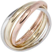 Damen Ring 3-reihig 585 Gelbgold WeißRotgold tricolor dreifarbig
