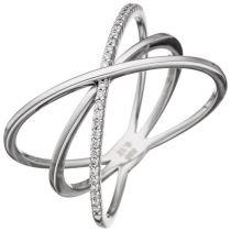 Damen Ring 3-reihig 585 Weißgold 30 Diamanten Brillanten