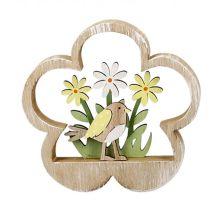 Deko-Blume 3D Holzblume mit Vogel-Blumendekor Standdeko Fensterbankdeko zum Stellen natur bunt 15x2x15cm Oster