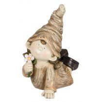 Deko-Figur Wichtel Herbstkind Mädchen creme braun 16 x 34 cm