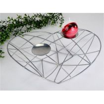 Deko-Herz aus Eisen in Silber als Kerzenhalter, 36 cm