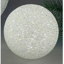 Deko-Kugel aus Kunststoff, weiß mit LED Beleuchtung, 12 cm