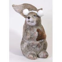 Dekofigur Eichhörnchen aus Keramik nach rechts schauend, 25 cm