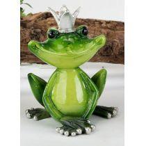 Dekofigur Froschkönig in frischem Grün mit Krone, 12 cm