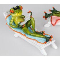 Dekofigur lustiger Frosch als Urlauber auf Liege, 19 x 10 cm
