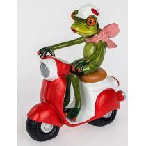 Dekofigur lustiger Frosch auf einem Roller, grün rot, 15x16 cm
