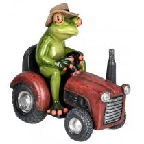 Dekofigur lustiger Frosch auf einem roten Traktor, hellgrün, 16 cm