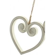 DIO Hängedeko Dekohänger Herz aus Holz in Antik Weiß, 9,5 cm