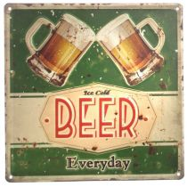 DIO Wandbild aus Metall Ice cold Beer Everyday, 30 x 30 cm