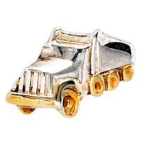 Einzel-Ohrstecker LKW Lastwagen 925 Silber bicolor vergoldet