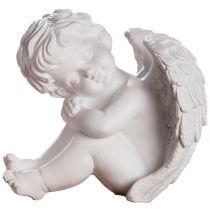 Engelsfigur weiß als Grabschmuck 13x13,5x15 cm