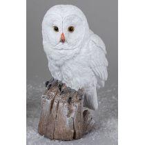 formano Deko-Figur Wintereule auf einem Baumstamm, weiß 23 cm