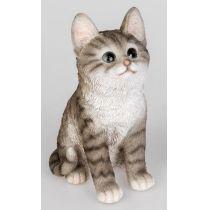 formano Dekofigur sitzende Katze in Weiß Schwarz aus Kunststein, 18 cm