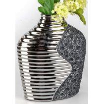 formano edle Blumenvase Stone Silber aus Keramik, 20 x 25 cm