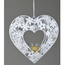 formano Hängedeko Teelichthalter Leoni in Herzform weiß, 24 cm