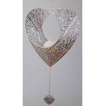 Formano Hänger Herz Prado 32 cm silber Metall Leuchter
