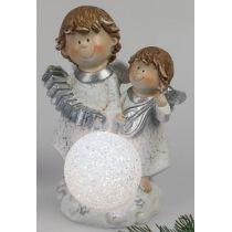 formano Schutzengel Weihnachtsengel mit LED Dekokugel, 21 cm