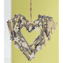 GILDE Deko Kranz aus Naturholz im Herz Look in Beige Weiß, 24 cm