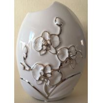 GILDE Deko Vase in Weiß mit silberner Blumenmusterung, 19 x 23 cm