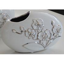 GILDE Deko Vase weiß mit silberner Blumenmusterung, 27 x 15 cm