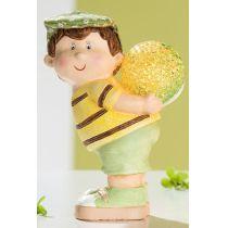GILDE Dekofigur aus Keramik Junge mit LED Kugel, stehend, 15 cm