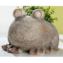GILDE Dekofigur Pflanz Frosch im Sand Dekor, 24 x 26 x 19 cm
