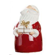 GILDE Dekofigur Santa mit Geschenk in der Hand, rot weiß gold, 11 cm