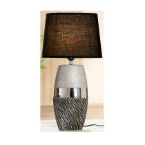 GILDE Dekorations Lampe in Matt Grau Silber aus Keramik, 35 cm