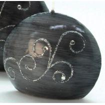 GILDE Diskus-Kerze in Grau mit Strass-Steinen, 4 x 9 x 8 cm