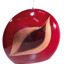 GILDE Diskus-Kerze in Rot mit Auge, 4 x 9 x 8 cm