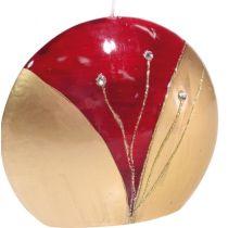 GILDE Diskus-Kerze in Rot mit Strass-Steinen, 4 x 9 x 8 cm