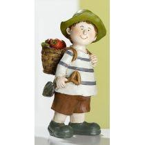 GILDE Garten Kind Paul mit Korb, von Hand bemalt, 14 cm