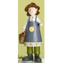 GILDE Gartenfigur Sophia mit Korb, Hand bemalt, 21 cm