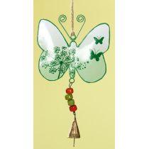 GILDE Hängedeko Schmetterling aus Metall in Hellgrün, 13 x 24 cm