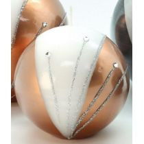GILDE Kugelkerze in Gold und Weiß mit Strass-Steinen, 8 cm