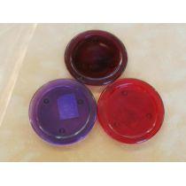 Kerzenteller aus Glas in Rot oder Dunkelrot