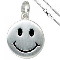 Kinder Anhänger Lächelndes Gesicht 925 Silber mit Kette 42 cm