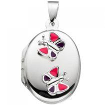 Kinder Medaillon Schmetterling rosa pink für 2 Fotos 925 Silber