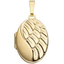 Medaillon 333 Gelbgold teilmattiert