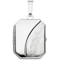 Medaillon 925 Sterling Silber rhodiniert teileismatt 24 mm hoch