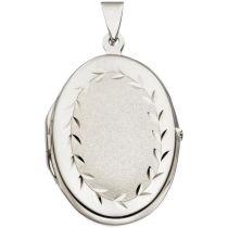 Medaillon 925 Sterling Silber rhodiniert teilmattiert 31,8 mm hoch