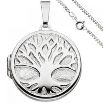 Medaillon Anhänger Baum des Lebens rund 925 Silber mit Kette 60 cm