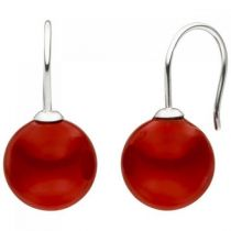 Ohrhänger 925 Silber 2 Muschelkern Perlen rot 12 mm Ohrringe